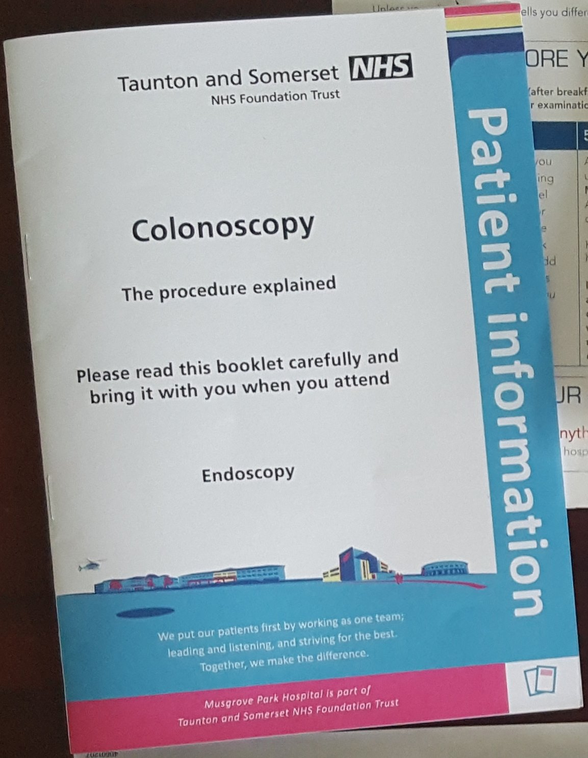 On the way to being told it's bowel cancer, expect a colonoscopy. This handbook will help with those details.
