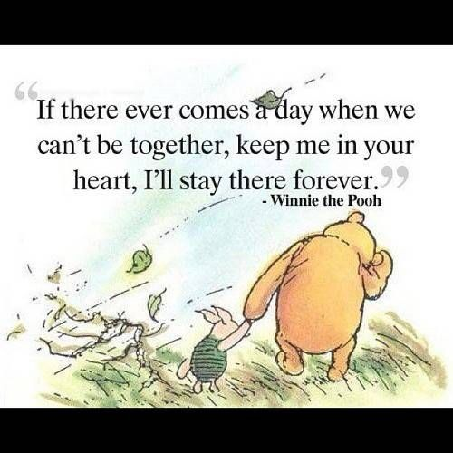 A poignant moment between Winnie the Pooh and Piglet; a nice way to cover your bases as you head into surgery
