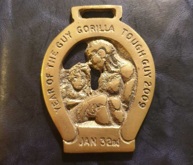 The 'Horse Brass' medal awarded for completing the 2009 Tough Guy event.